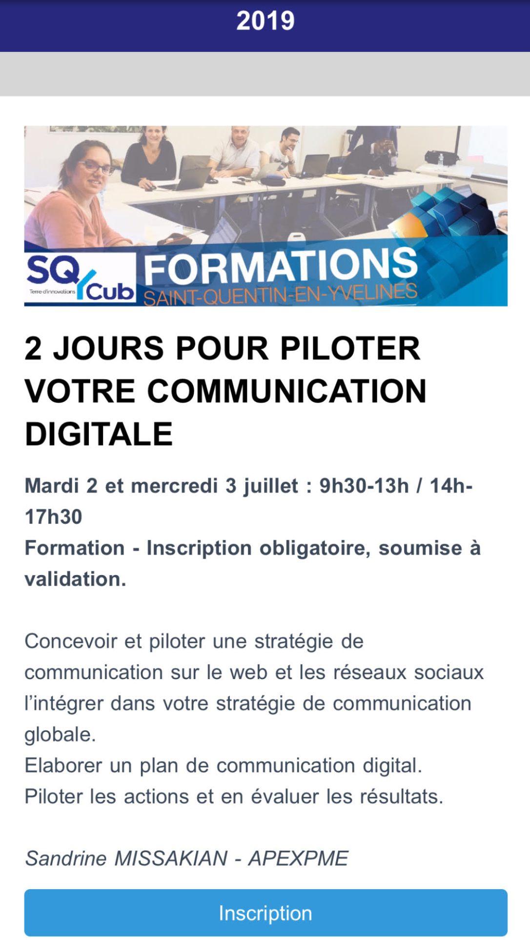 sqy cub 2019 formation communication digitale